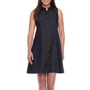 Calvin Klein Chambray Shirt Dress Sleeveless Blue
